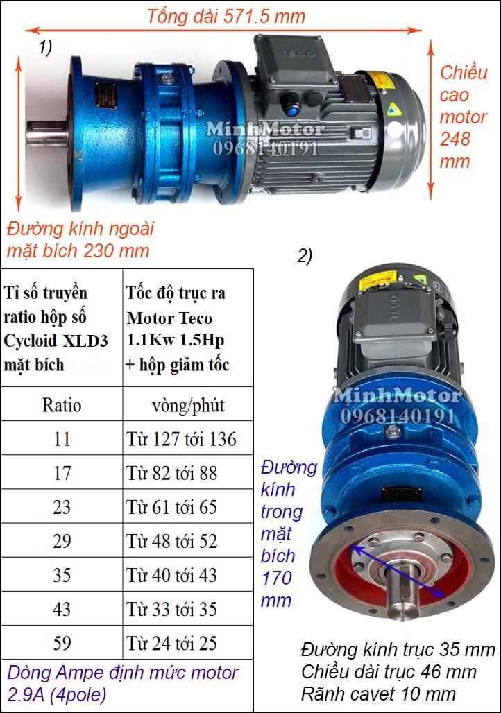 Motor Teco 1.1kw 1.5hp liền giảm tốc cyclo bích XLD3