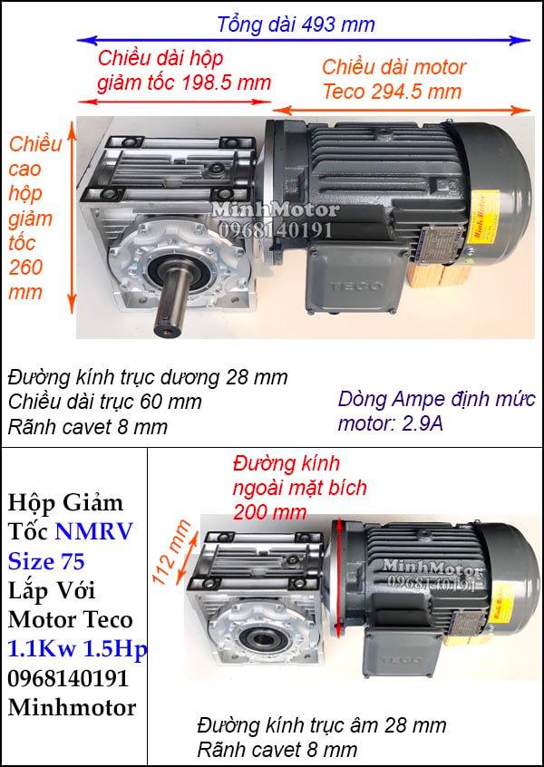 Động cơ giảm tốc Teco 1.1kw 1.5hp NMRV 75 trục vuông góc