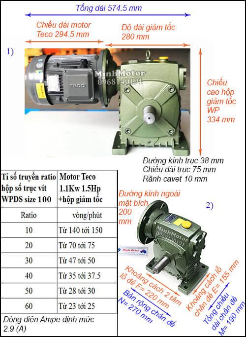 Động cơ hộp số Teco 1.1kw 1.5hp WPDS 100, cốt dương