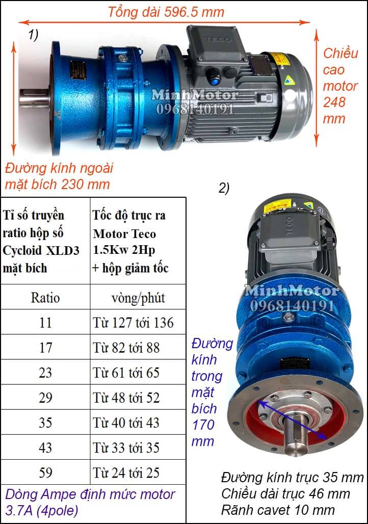 Motor Teco 1.5kw 2hp liền giảm tốc cyclo bích XLD3