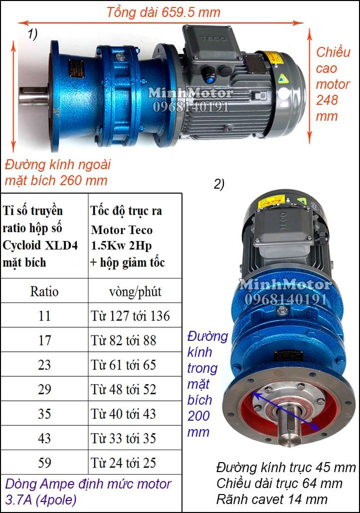 Motor Teco 1.5kw 2hp liền giảm tốc cyclo bích XLD4
