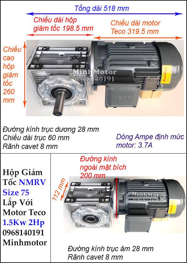 Động cơ giảm tốc Teco 1.5kw 2hp NMRV 75 trục vuông góc