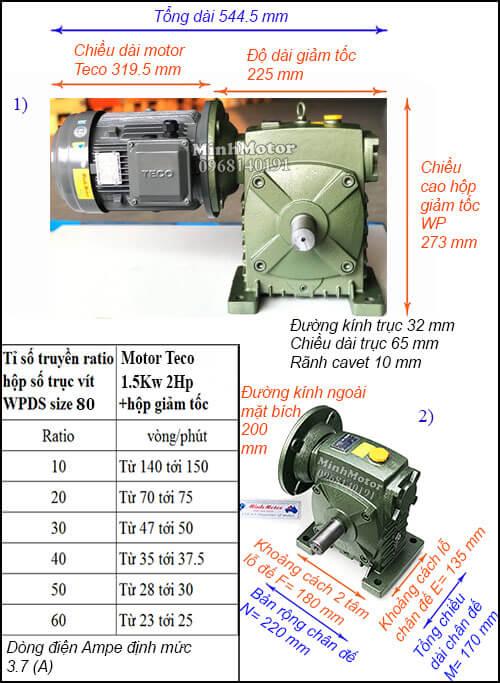 Động cơ hộp số Teco 1.5kw 2hp WPDS 80, cốt dương