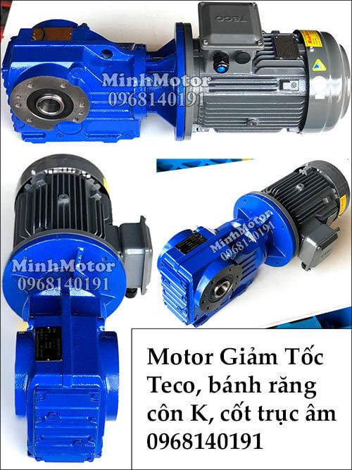 Động cơ Teco giảm tốc bánh răng côn K57, 1.1kw 1.5hp cốt âm