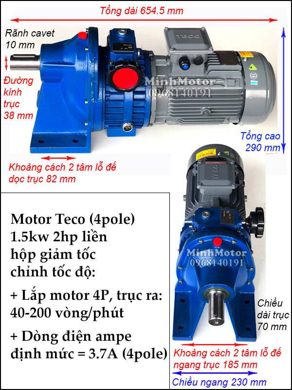 Bộ điều khiến tốc độ motor Teco 1.5kW 2Hp