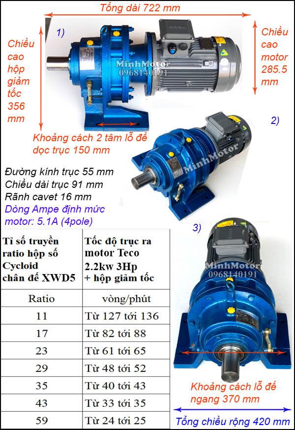 Motor Teco hộp số cyclo 2.2kW 3Hp, trục ngang XWD5