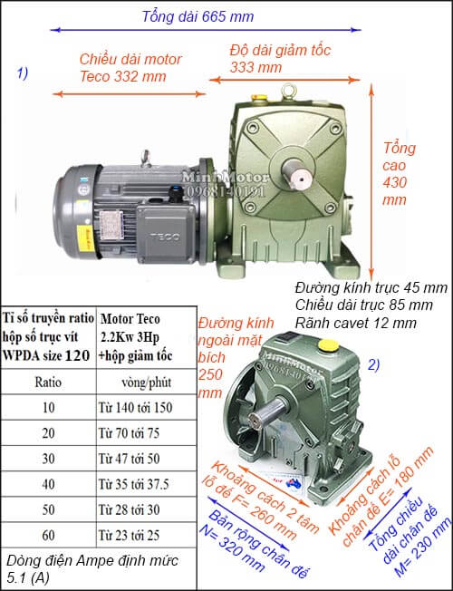 Motor hộp số Teco 2.2kw 3hp WPDA trục dương
