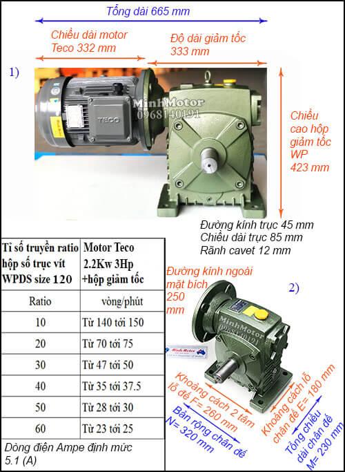 Động cơ hộp số Teco 2.2kw 3hp WPDS, cốt dương