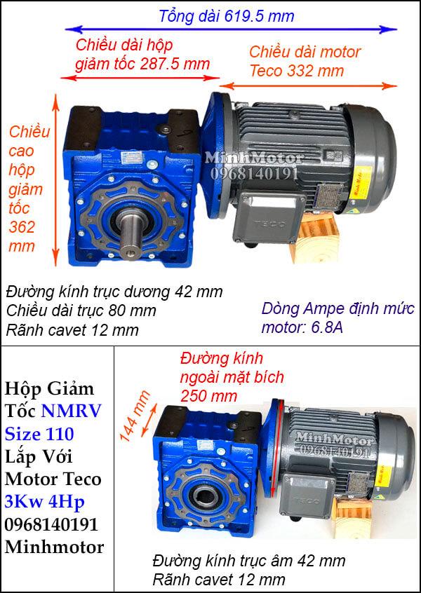 Động cơ giảm tốc Teco 3kw 4hp NMRV 110 trục vuông góc