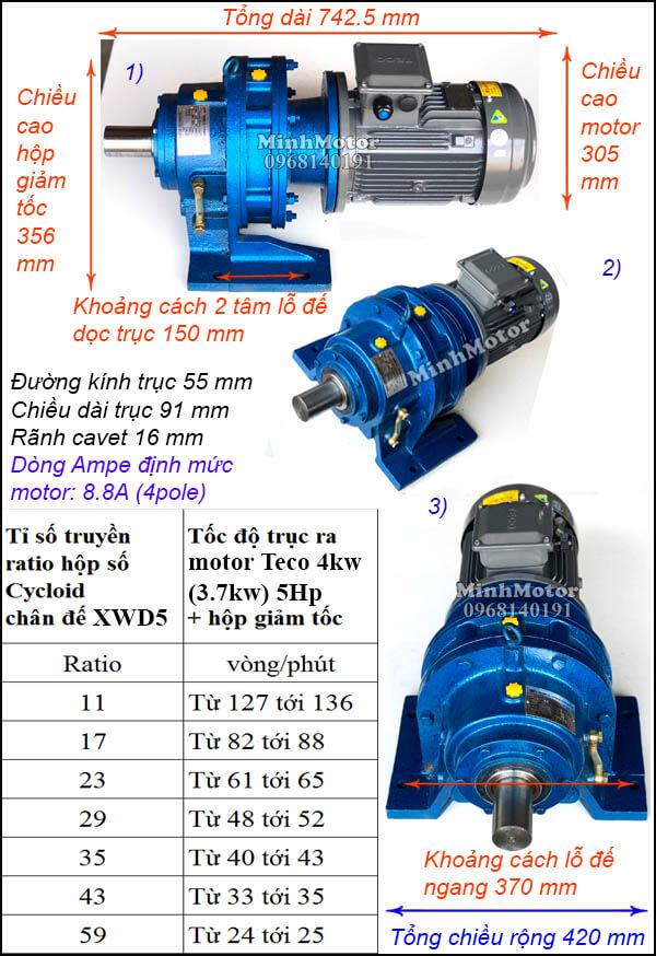 Motor Teco hộp số cyclo 4kW 5Hp, trục ngang XWD5