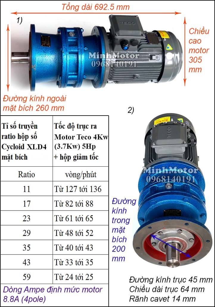 Motor Teco 4kw 5hp liền giảm tốc cyclo bích XLD4