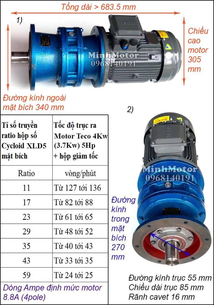 Motor Teco 4kw 5hp liền giảm tốc cyclo bích XLD5