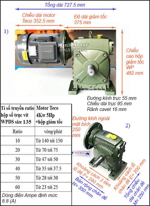 Động cơ hộp số Teco 4kw 5hp WPDS, cốt dương