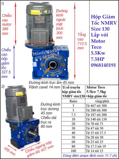 Động cơ giảm tốc Teco 5.5kw 7.5hp NMRV 130 trục vuông góc phương thẳng đứng
