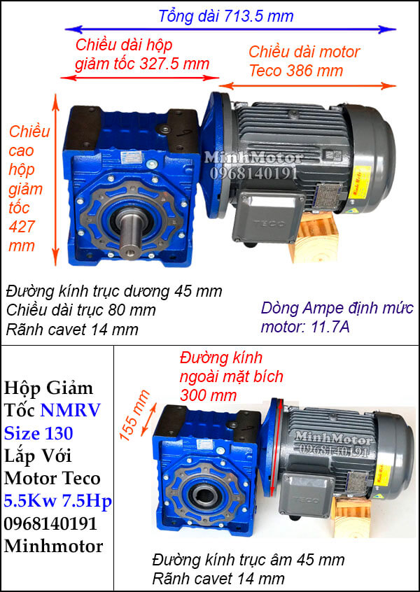 Động cơ giảm tốc Teco 5.5kw 7.5hp NMRV 110 trục vuông góc