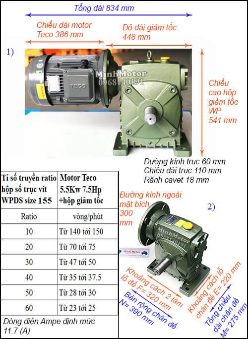 Động cơ hộp số Teco 5.5kw 7.5hp WPDS, cốt dương