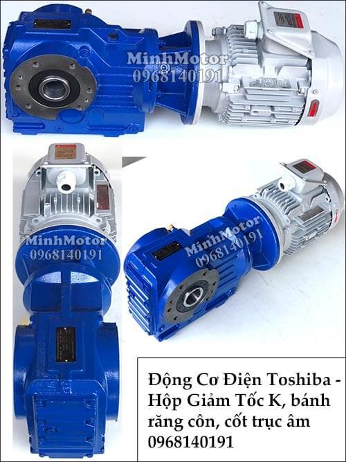 hộp giảm tốc Toshiba giảm tốc bánh răng côn K57, 1.1Kw 1.5Hp cốt âm