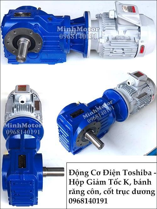 Động cơ điện Toshiba giảm tốc 1.1Kw 1.5Hp R57, trục thẳng, cốt dương