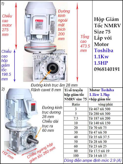 Hộp giảm tốc motor Toshiba 1.1Kw 1.5Hp RV 75 trục ra vuông góc lắp thẳng đứng