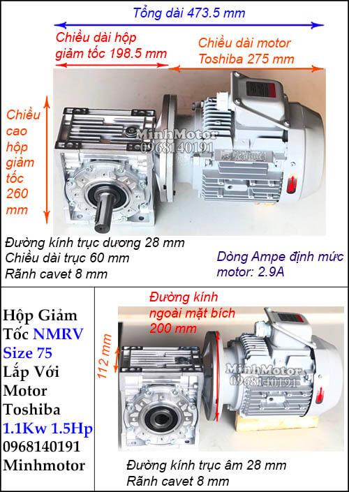 Hộp giảm tốc motor Toshiba 1.1Kw 1.5Hp RV 75 trục ra vuông góc