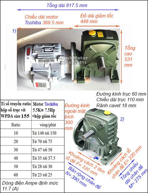 Motor hộp số Toshiba 5.5Kw 7.5Hp trục vít WPDA size 155