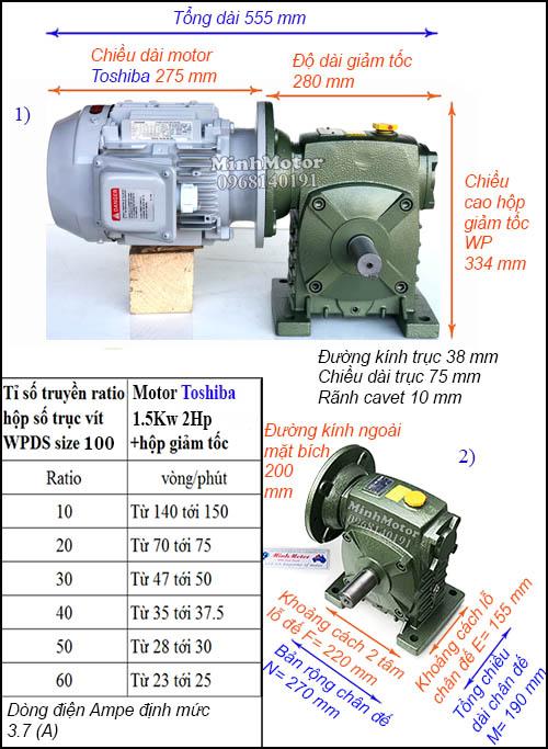 Động cơ hộp số Toshiba 1.5kW 2Hp WPDS, trục dương size 100