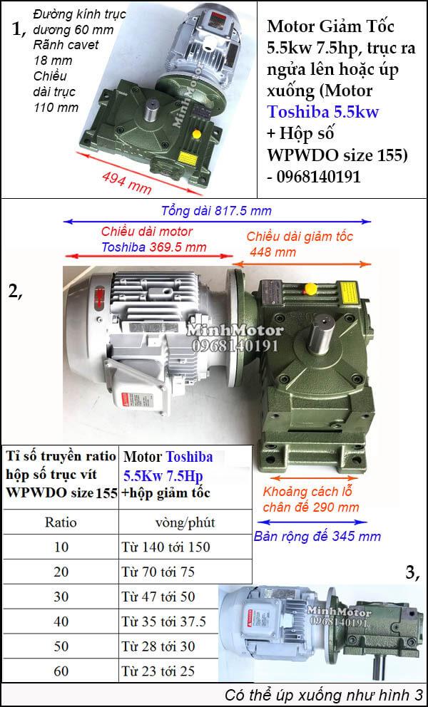 Bộ giảm tốc Toshiba 5.5Kw 7.5Hp trục úp ngửa WPWDO size 155