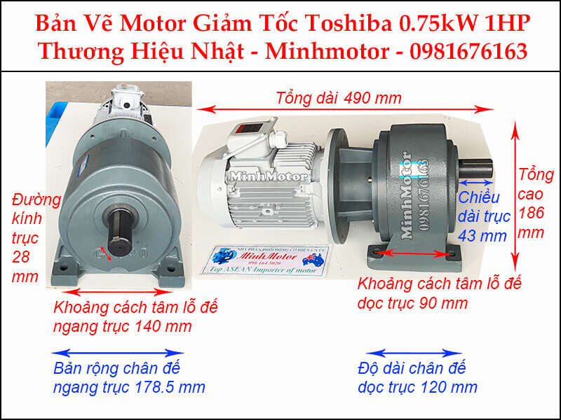 Động cơ giảm tốc Toshiba 0.75Kw 1Hp chân đế