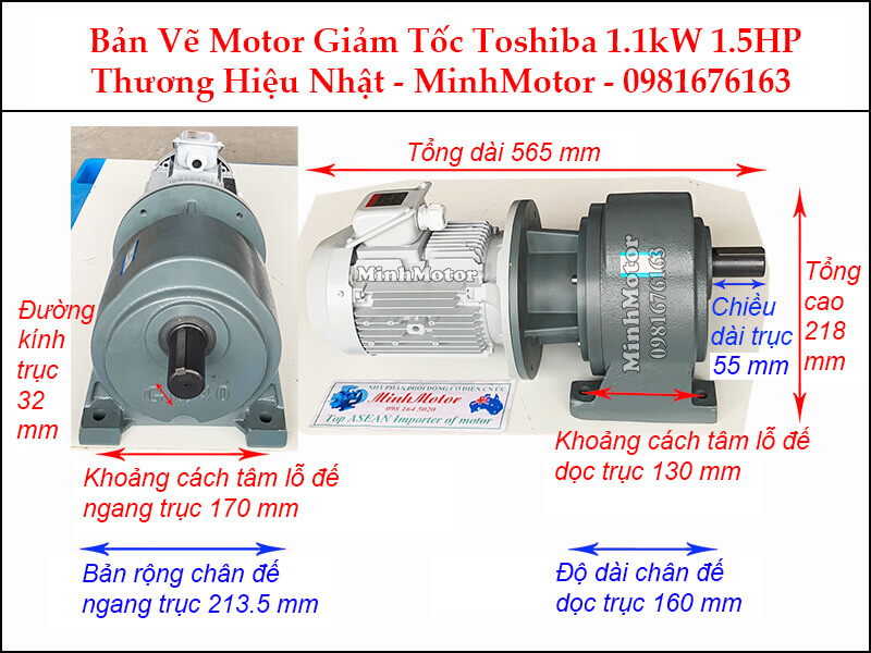 Động cơ giảm tốc Toshiba 1.1Kw 1.5Hp chân đế