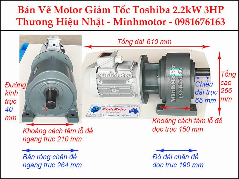 Động cơ giảm tốc Toshiba 2.2Kw 3Hp chân đế