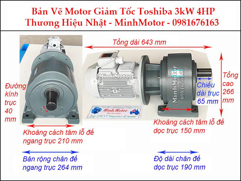 Động cơ giảm tốc Toshiba 3Kw 4Hp chân đế