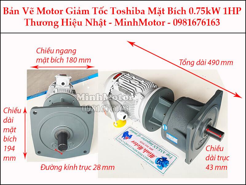 Motor giảm tốc Toshiba 0.75Kw 1Hp mặt bích
