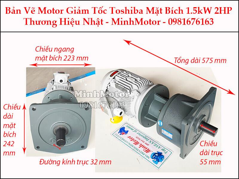 Motor giảm tốc Toshiba 1.5kW 2Hp mặt bích