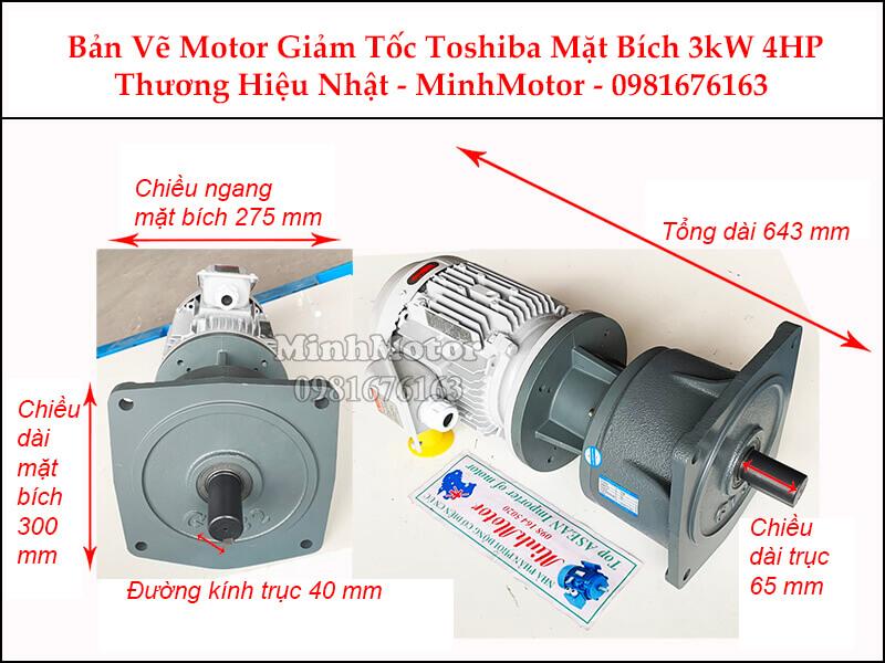 Motor giảm tốc Toshiba 3Kw 4Hp mặt bích