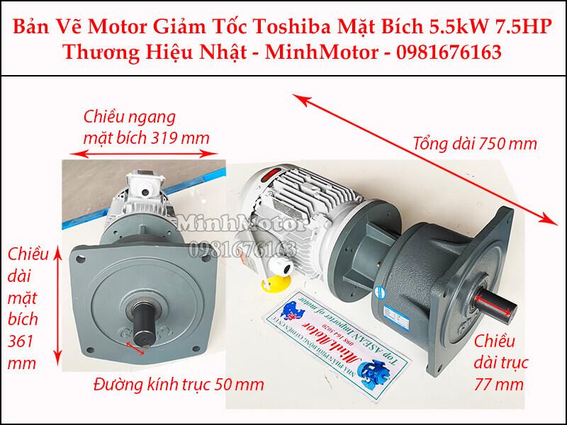Motor giảm tốc Toshiba 5.5Kw 7.5Hp mặt bích