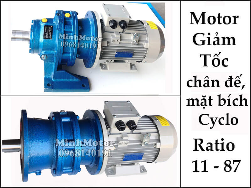 motor giảm tốc Cyclo chân đế, mặt bích 0.2kw 1/4hp