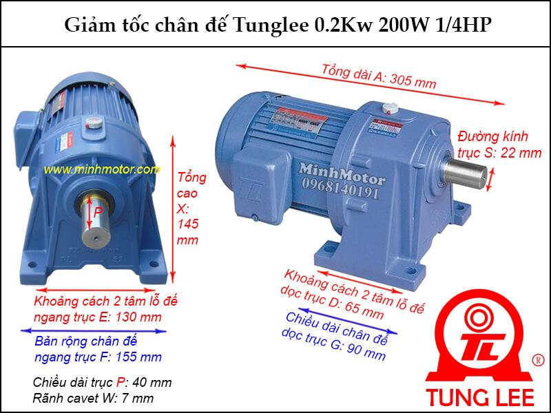 motor giảm tốc Tunglee 0.2kw 200w 1/4hp chân đế