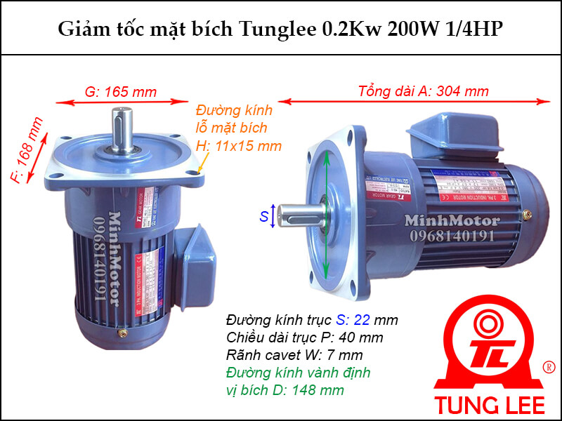 motor giảm tốc Tunglee 0.2kw 200w 1/4hp mặt bích