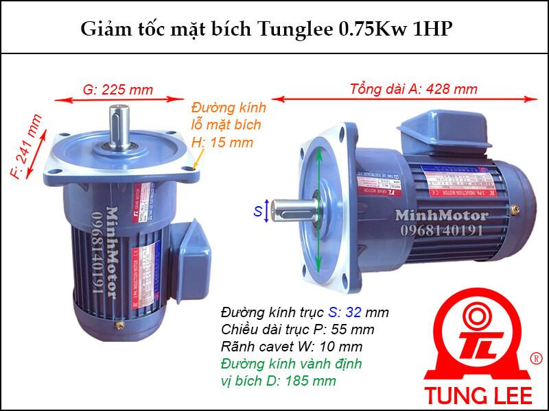 motor giảm tốc Tunglee 0.75kw 1hp mặt bích