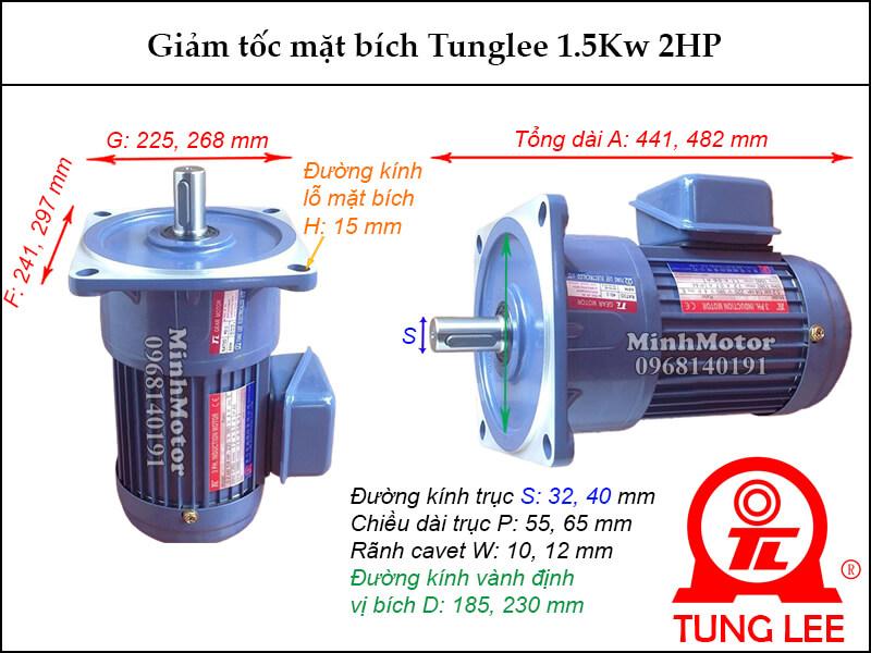 motor giảm tốc Tunglee 1.5kw 2hp mặt bích