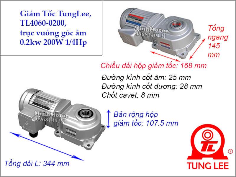 Motor hộp số Tunglee TL 4060 trục vuông góc 0.2kw 200w 1/4hp