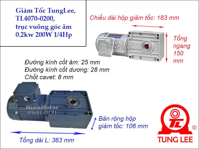 Motor hộp số Tunglee TL 4070 trục vuông góc 0.2kw 200w 1/4hp