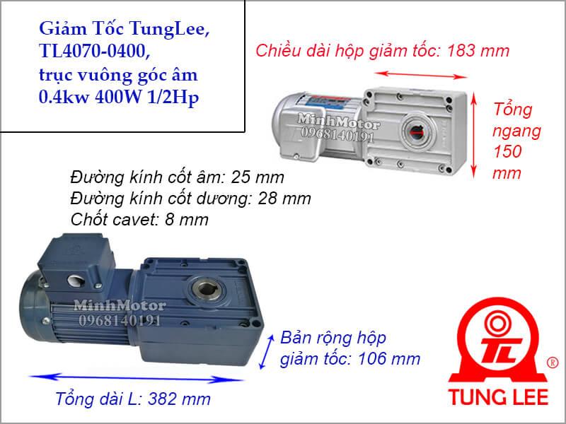 Motor hộp số Tunglee TL 4070 trục vuông góc 0.4kw 400W 0.5hp