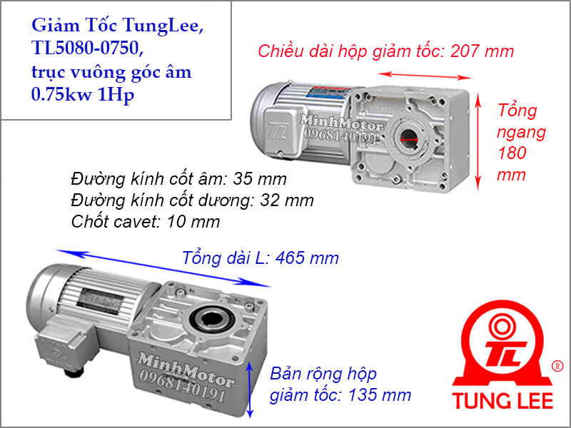 Motor hộp số Tunglee TL 5080 trục vuông góc 0.75kw 1hp