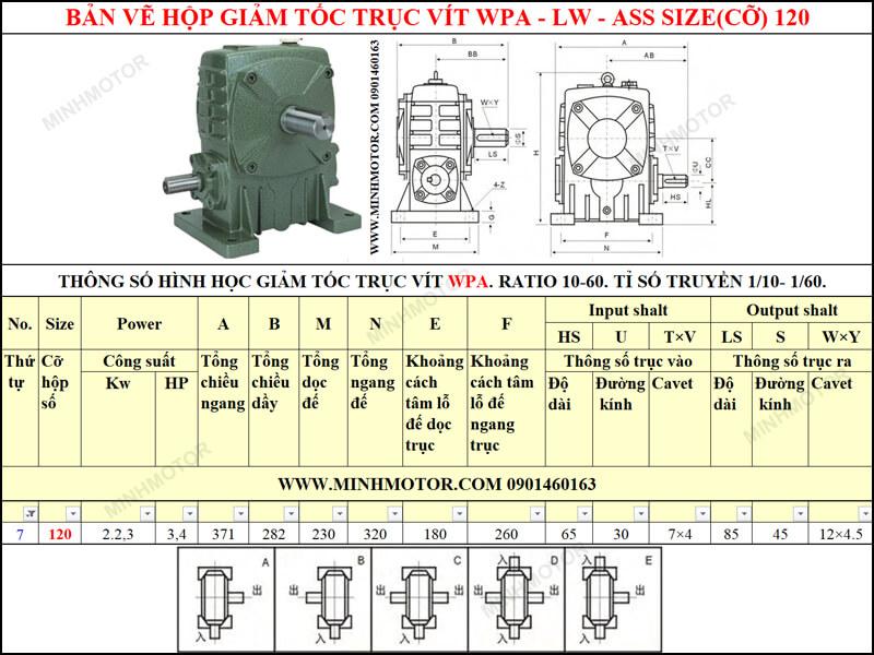 Bản vẽ giảm tốc WPA hoặc WPS size cỡ 120 lắp với motor 2.2kw