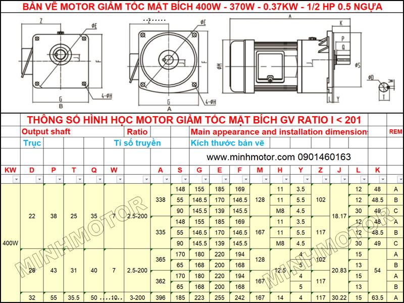 Bản Vẽ Giảm Tốc Mặt Bích 0.37kw 0.5HP mặt bích GV ratio 10