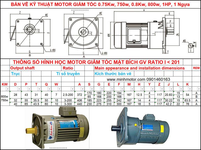 Bản vẽ giảm tốc mặt bích 0.75kw 0.8kw 1HP mặt bích GV ratio 10