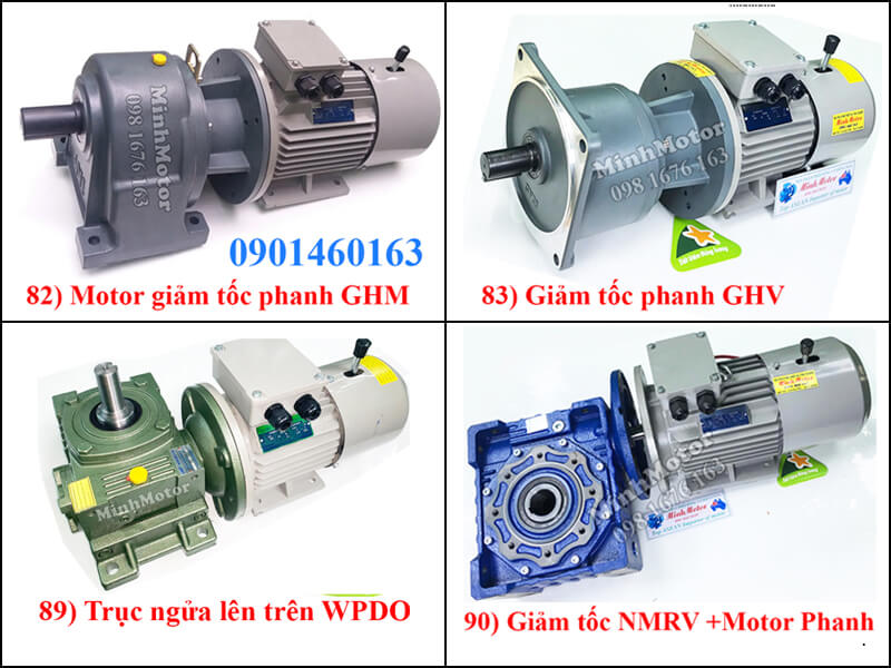 Motor Giảm Tốc Phanh Từ, Thắng Đuôi 0.75kw 0.8kw 1HP Ratio 15