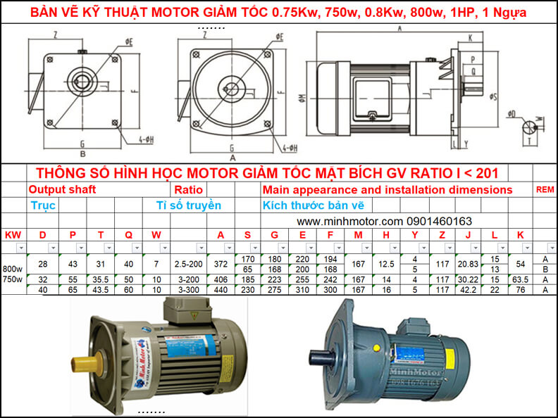 Bản vẽ giảm tốc mặt bích 0.75kw 0.8kw 1HP mặt bích GV ratio 150