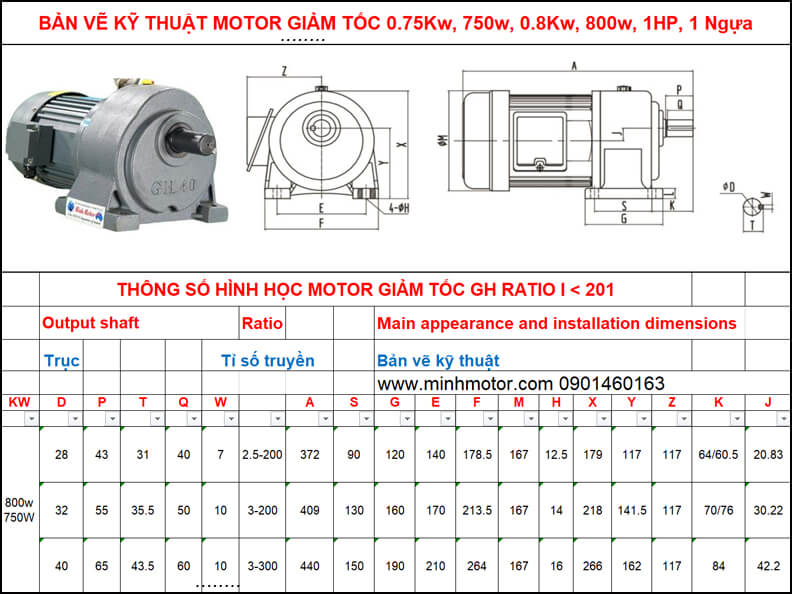 Bản vẽ motor giảm tốc 0.75kw 0.8kw 1HP chân đế ratio 200